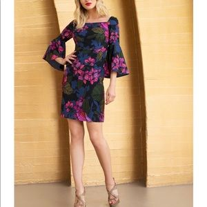 Trina Turk Miley 2 Square Neck Bell Sleeve Dress